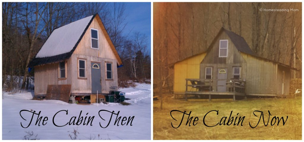 The cabin then and now