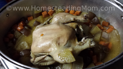 roast chicken, chicken stock, bone broth, www.HomesteadingMom.com